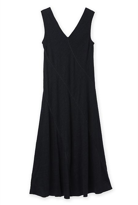cabd832ea5 ... Linen Cotton Bias Cut Midi Dress ...