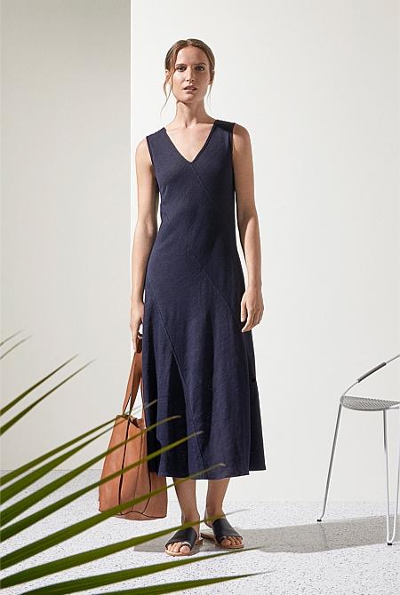 fd7f8e0181 Linen Cotton Bias Cut Midi Dress ...
