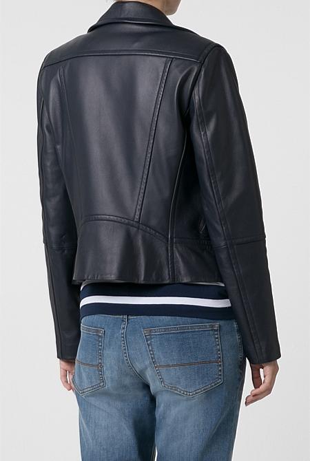 a446386132f ... Navy Leather Biker Jacket ...
