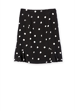 Stamped Spot Frill Silk Skirt