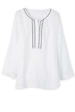 Embroidered Linen Relaxed Shirt