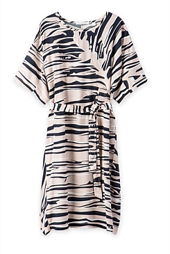 Painterly Frond Print Dress