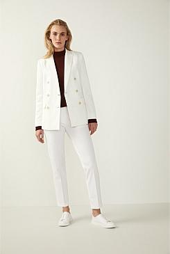 baa06d130aa Cotton Linen Twill Double-Breasted Blazer