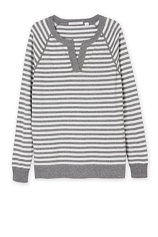 Striped Open Neck Knit