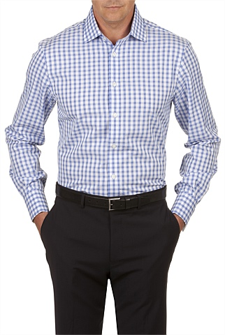 French Cuff Textured Gingham Shirt