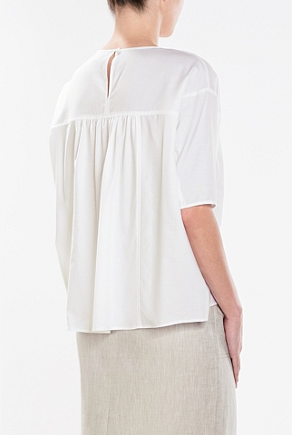 Gathered Cotton Silk Top