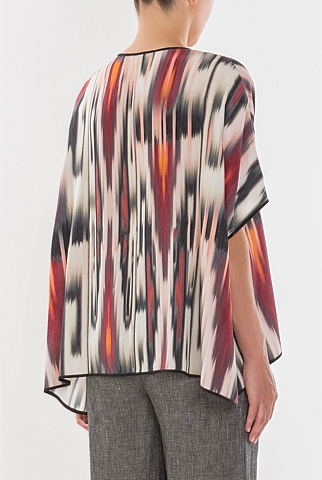 Relaxed Wildfire Print Silk Top