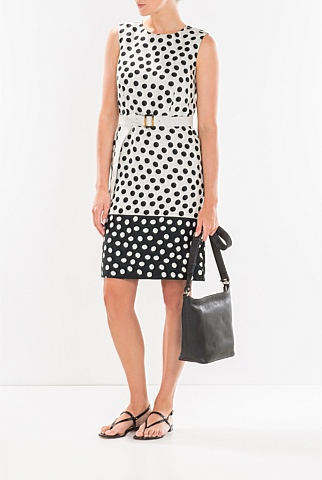 Stamped Spot Linen Shift Dress