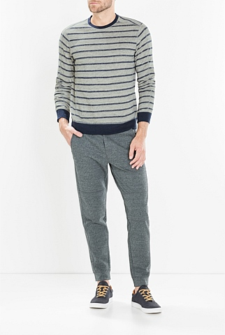 Linen-Cotton Striped Sweatshirt