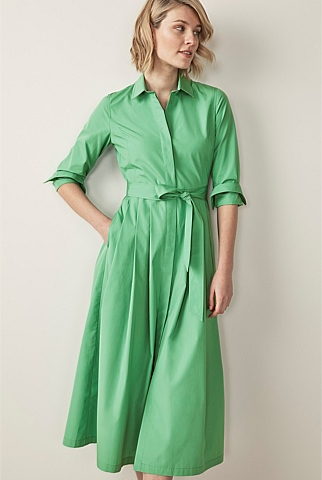 Cotton Poplin Button Through Dress