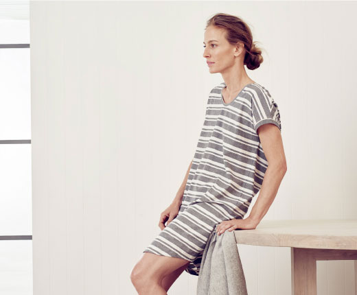 Organic Sleepwear - Lounging takes a lighter turn with a nod to spring and the warmer months to come. Relaxed-fitting henelts and sleep pieces in organic cotton are serene in colour and mood, offering an easy-going aesthetic that is less contructed.