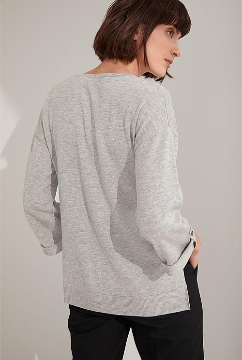 Wool Blend Tab Sleeve Knit