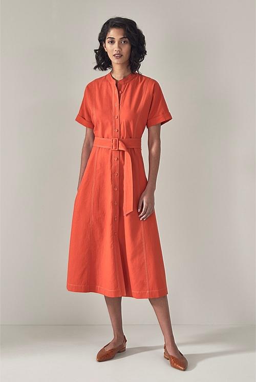 Stitch Detail Short Sleeve Shirt Dress